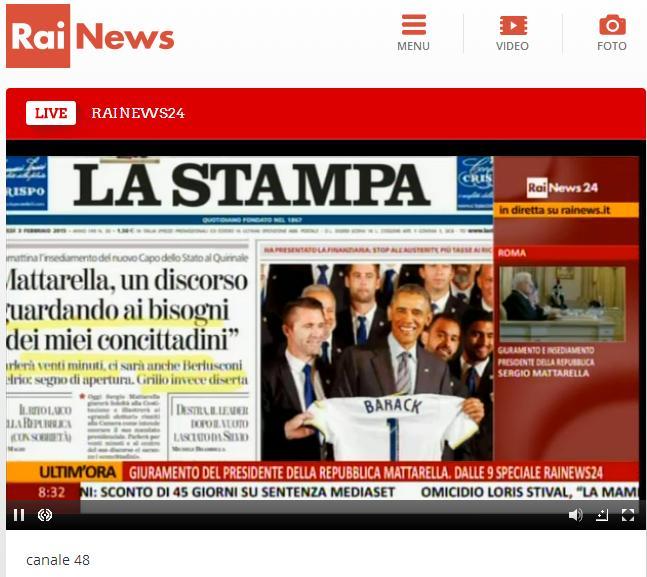 Giuramento presidente mattarella tv e streaming ecco for Parlamento streaming diretta