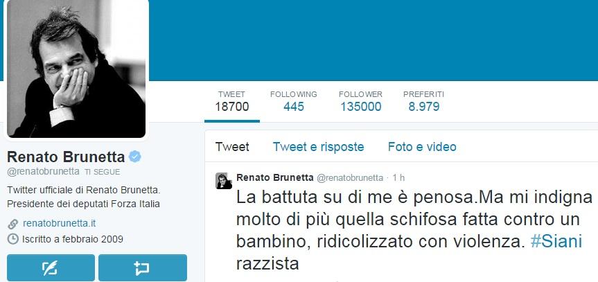 """Renato Brunetta contro Alessandro Siani: """"Battuta penosa, razzista"""""""