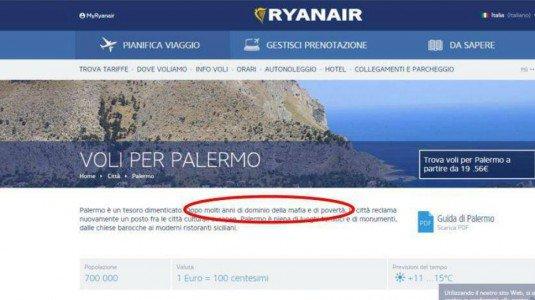 """""""Palermo, città di mafia e povertà"""" sul sito Ryanair. Proteste, frase rimossa"""