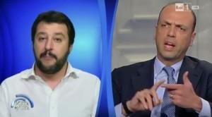VIDEO YouTube Matteo Salvini e Angelino Alfano, lite a Porta a Porta