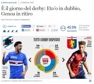 Sampdoria-Genoa: Eto'o in dubbio, rossoblù in ritiro