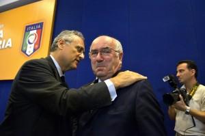 Carlo Tavecchio e Claudio Lotito (foto Lapresse)