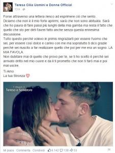 """Uomini e donne, Teresa Cilia scrive a Salvatore Di Carlo: """"Ti amo. La tua stronza"""""""