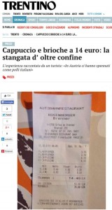 La notizia pubblicata dal Trentino