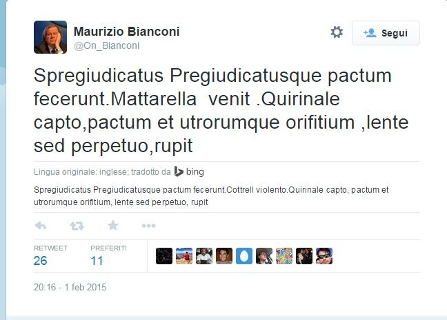 """Bianconi (Fi) tweet in latino: """"Venne Mattarella e ruppe orifizio di Renzi e B..."""""""