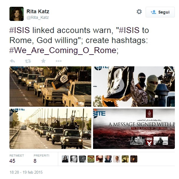 "Isis su Twitter lancia hashtag ""stiamo arrivando a Roma"" FOTO"