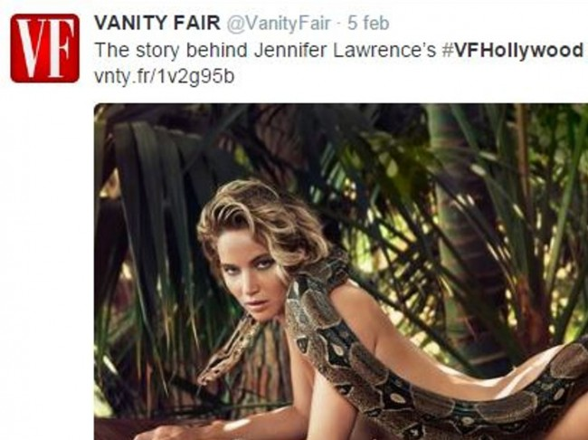 Jennifer Lawrence nuda su Vanity Fair col boa addosso
