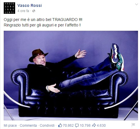 """Vasco Rossi compie 63 anni. """"Altro bel traguardo!  FOTO"""