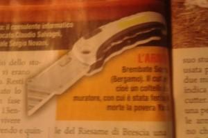Giallo e la foto di un cutter: il coltello da muratore con cui sarebbe stata ferita a morte Yara Gambirasio