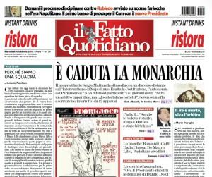 """Marco Travaglio sul Fatto Quotidiano: """"Il Re è morto, viva l'arbitro"""""""