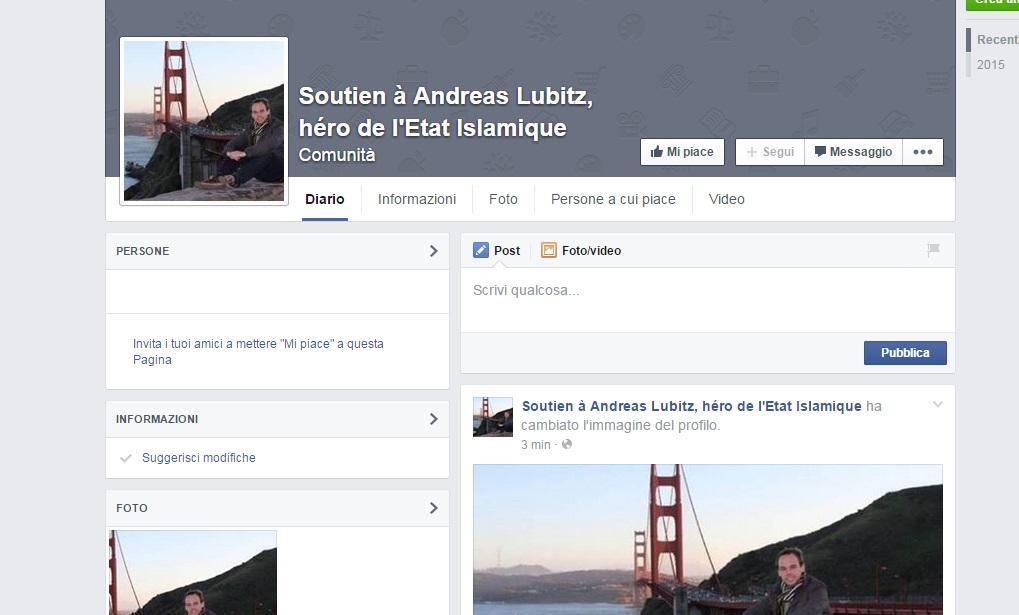 """Andreas Lubitz, la pagina Facebook: """"Eroe dello stato islamico"""""""