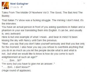"""Fabio Fazio risponde a Noel Gallagher: """"Si lamenta di una domanda mai fatta"""""""