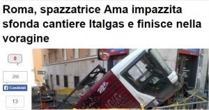 Roma, furgoncino Ama in sosta scivola in una voragine: paura alla Balduina