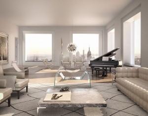 Il salotto di un mega-appartamento a Manhattan