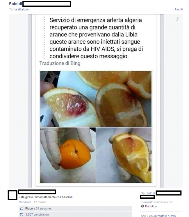 """""""Arance contaminate dall'Hiv dalla Libia"""": FOTO diventa virale, ma è una bufala"""
