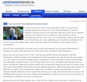 """L'articolo dal titolo """"Mi puoi aprire la porta?"""" pubblicato sulla rivista di aeronautica Piloot en Vliegtuig."""