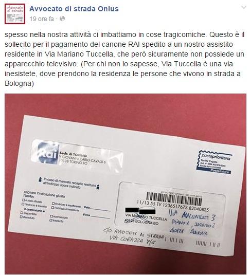 Canone Rai, sollecito inviato ad un senzatetto di Bologna FOTO