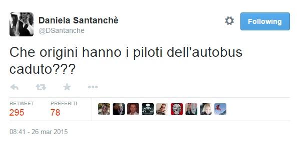 """GermanWings, Daniela Santanché: """"Che origini hanno piloti dell'autobus caduto?"""""""