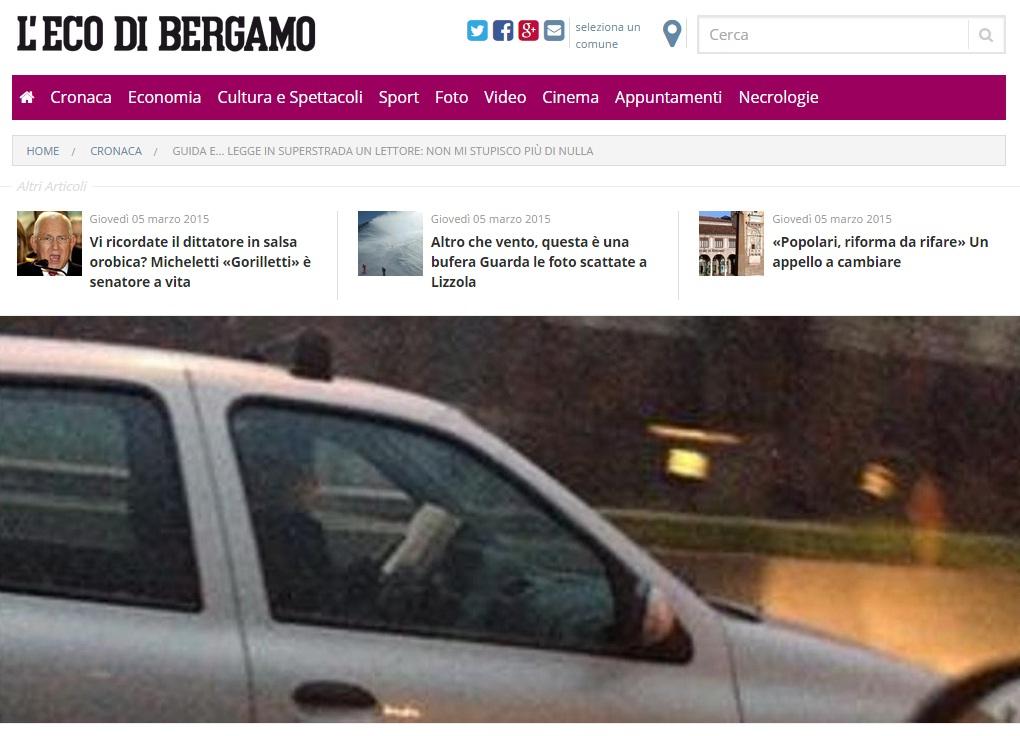 Legge un libro mentre guida in superstrada. FOTO Un lettore all'Eco di Bergamo
