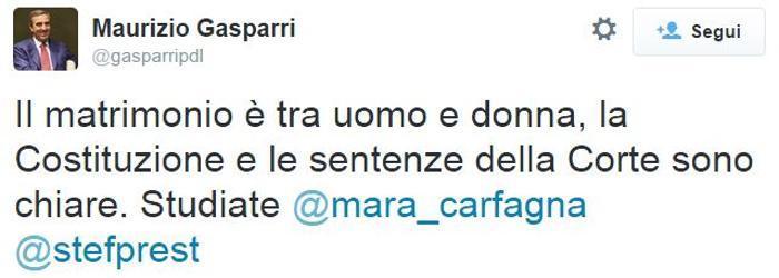 Matrimonio Tra Uomo E Animale : Maurizio gasparri su twitter quot il matrimonio è tra un uomo