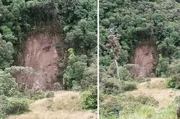 Colombia, volto di Gesù sulla parete dopo la frana