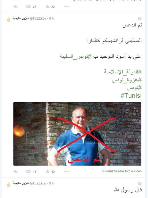 "Isis mostra FOTO Francesco Caldara su Twitter: ""Crociato schiacciato"""