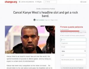 """Kanye West a Glastonbury, petizione: """"Non lo vogliamo. Insulto alla musica"""""""