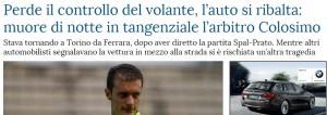 Luca Colosimo, arbitro Lega Pro, morto in incidente dopo Spal-Prato