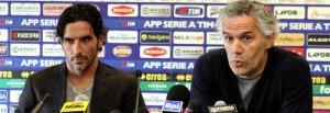 a sinistra il capitano del Parma Alessandro Lucarelli, a destra l'allenatore del Parma Roberto Donadoni