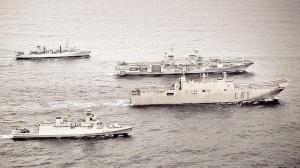 Navi della Marina militare verso Algeri (Foto Ansa)