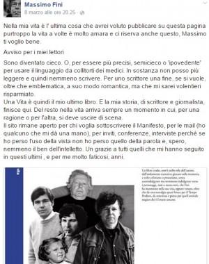 """Massimo Fini su Facebook: """"Sto diventando cieco, non scriverò più"""""""