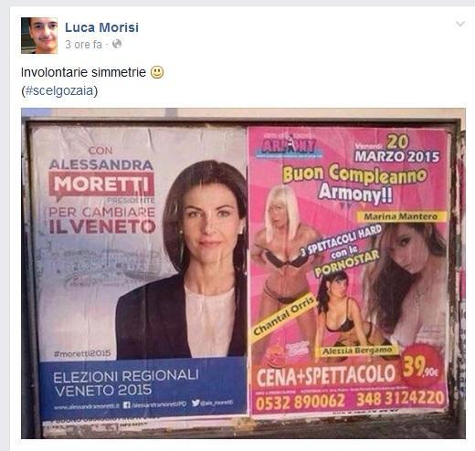 Alessandra Moretti, manifesto vicino a pubblicità pornostar FOTO Fb Luca Morisi