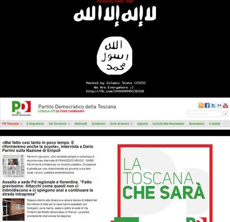 Sigla Isis su sito FOTO: attacco informatico su sito Pd Toscana