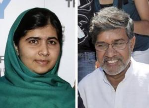 I due premi Nobel per la pace 2014, Malala e l'attivista indiano Satyarthi (foto Ansa)