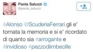 Il tweet di Paola Saluzzi contro Alonso