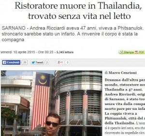 Andrea Ricciardi, ristoratore di Sarnano, morto in Thailandia, dove lavorava
