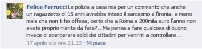 """Felice Ferrucci su bacheca Boldrini: """"Farò qualche pazzia"""". Polizia gli arriva a casa"""