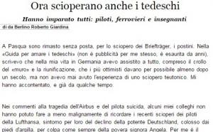 Ora scioperano anche i tedeschi. Roberto Giardina, Italia Oggi