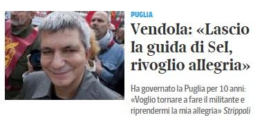 """Nichi Vendola, il Corriere: """"Lascio la guida di Sel"""". Ma lui smentisce"""