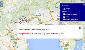Terremoto Veneto: scossa di magnitudo 3.5 avvertita nel Trevigiano