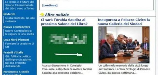 Torino, gaffe al Comune: falsa bandiera Arabia Saudita sul giornale online