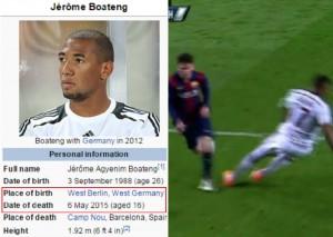"""Jerome Boateng """"morto"""" su Wikipedia dopo il gol di Messi FOTO"""