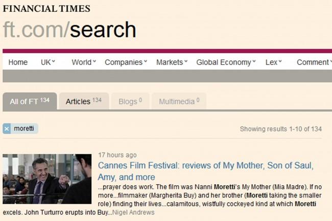 """Cannes, Financial Times plaude Nanni Moretti: """"Mia Madre da Palma d'oro"""