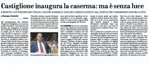 Bronte (Catania): sottosegretario Castiglione inaugura caserma, ma è senza luce