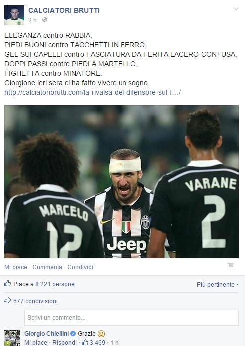Juve-Real: Giorgio Chiellini commenta post di Calciatori Brutti FOTO