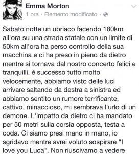 """Emma Morton, incidente dopo il concerto a Montecatini: """"Viva per miracolo"""""""