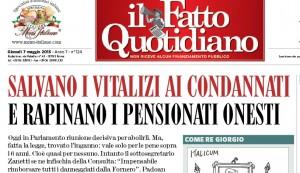 """""""Salvano vitalizi ai condannati e rapinano pensionati onesti"""", il Fatto Quotidiano"""