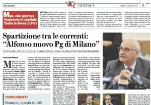 """Spartizione tra le correnti: """"Alfonso nuovo Pg di Milano"""""""