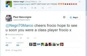 """Marco Negri: """"Auguri Gascoigne"""". Lui replica: """"Grazie frocio"""" FOTO"""