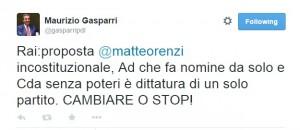 "Rai. ""Renzi vuole dittatura Pd"": Maurizio Gasparri su Twitter"